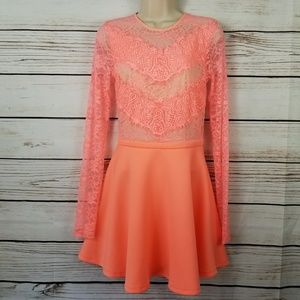 ASOS Lace Bright Neon Coral Skater Mini Dress